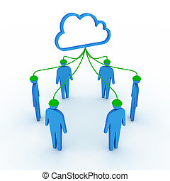 réseau, nuage, social