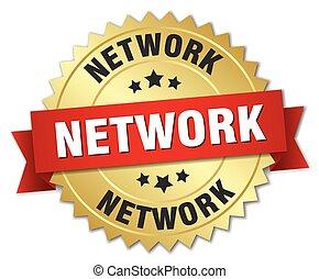réseau, or, rouges, écusson, ruban, 3d