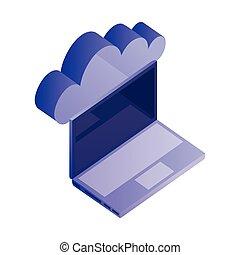 réseau, ordinateur portable, stockage, données ordinateur, nuage