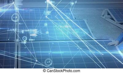réseau, panneau solaire, animation, connexions