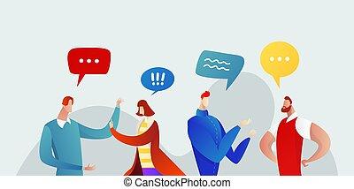 réseau, plat, conversation, gens, vecteur, illustration., communication, bulle, groupe, bavarder, discuter, social, concept, businesspeople, business