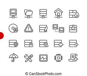 //, réseau, point, série, icônes, serveur, rouges