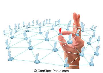 réseau, point, social, connexion, main
