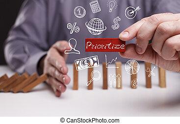 réseau, prioritize, concept., jeune, business, internet, homme affaires, technologie, spectacles, word: