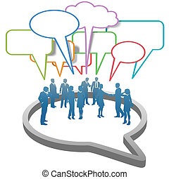 réseau, professionnels, intérieur, parole, social, bulle