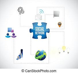 réseau, puzzle, illustration, morceaux, conception, social
