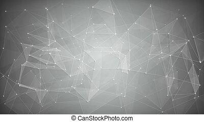 réseau, résumé, forme., loopable, fond, blanc