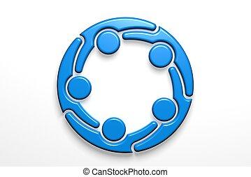 réseau, render, illustration, collaboration, social, logo., 3d
