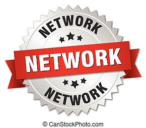 réseau, ruban, écusson, argent, rouges, 3d