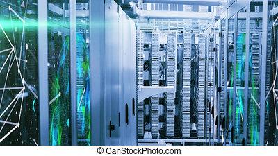 réseau, salle, sur, connexions, serveur