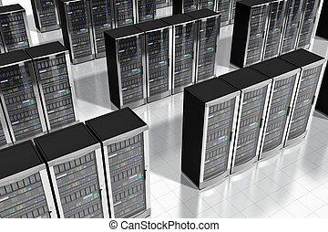 réseau, serveurs, dans, datacenter