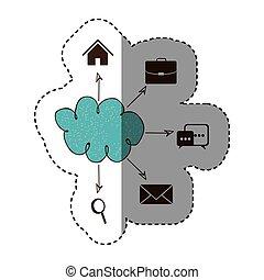 réseau, service, icônes, couleur, connexion, nuage