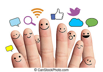 réseau, signe., isolé, smileys, doigt, social, heureux