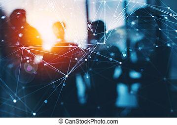 réseau, silhouette, professionnels, bureau., exposition, collaboration, ensemble, travail, double, concept, partnership., effets