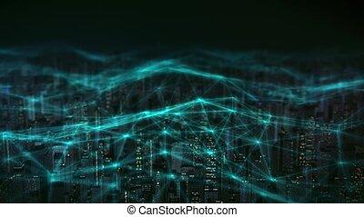 réseau, skyline., numérique, vue, ville, connecté, graphiques, aérien, intelligent, 4k, mouvement, animation., neural