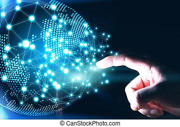 réseau, social, concept., connected., mondiale