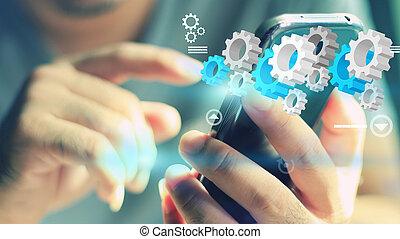réseau, social, concept., média