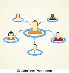 réseau, social, plan, résumé
