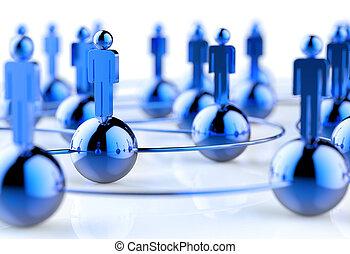 réseau, social, sans tache, humain, 3d