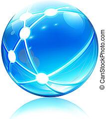 réseau, sphère, icône