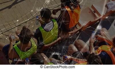 réseau, sports, séance, équipe, sièges, connexion