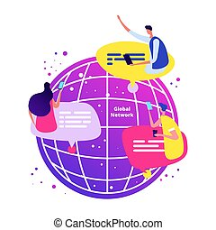 réseau, téléphones, concept., global, illustration, vecteur, bavarder, ligne, international