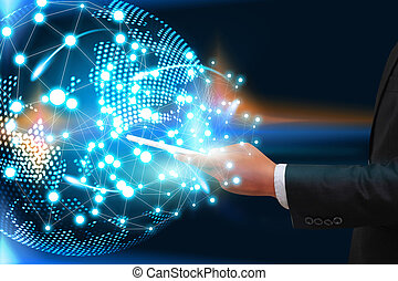 réseau, téléphones, concept., homme affaires, connecté, social, mondiale, intelligent