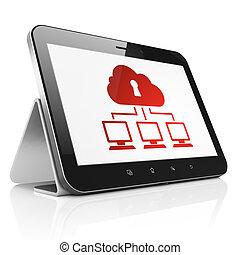 réseau, tablette, intimité, ordinateur pc, nuage, concept: