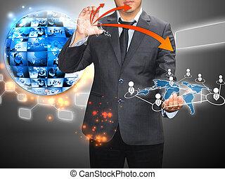 réseau, tenue, social, homme affaires