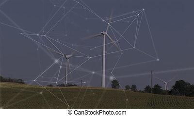réseau, vent, animation, turbines, connexions, fond