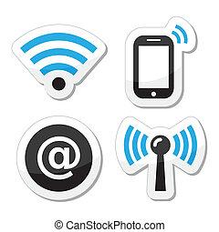 réseau, wifi, internet, zone, icônes
