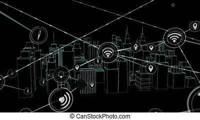 réseau, wifi, réception, animation, emplacement, icônes,...