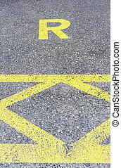 réservé, asphalte, signe