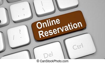 réservation, animation, ligne, clã©, clavier