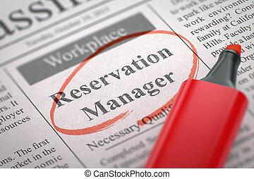 réservation, embauche, 3d., maintenant, manager.