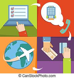 réservation, ensemble, réservation, icones affaires