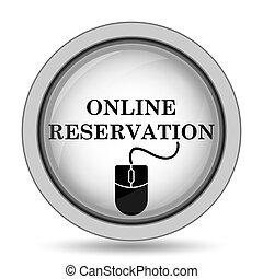 réservation, ligne, icône