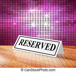 réservation, signe