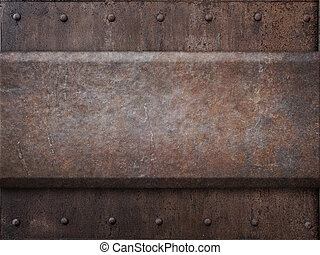 réservoir, armure, métal, punk, texture, rivets, rouillé, fond, vapeur