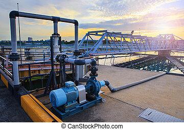 réservoir, métropolitain, fourniture, grand, industrie, eau, waterworks, pla