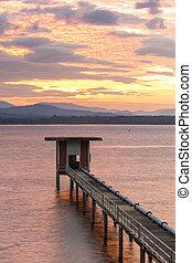 réservoir, oriental, soleil, waterwork, ciel, bangphra, chonburi, station, levée, thaïlande