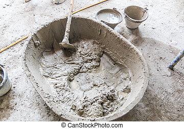 réservoir, -, site, ciment, construction, mélangeur