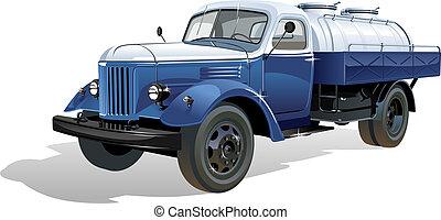 réservoir, vecteur, camion, retro