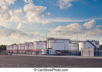 réservoirs, day., stockage, huile, été, terminal, barils, plusieurs, grand