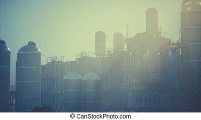 réservoirs, raffinerie, huile, usine, stockage