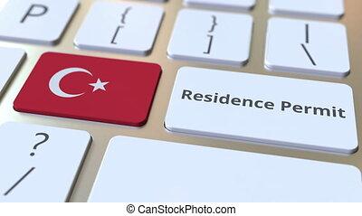 résidence, drapeau, animation, permis, texte, 3d, turquie,...