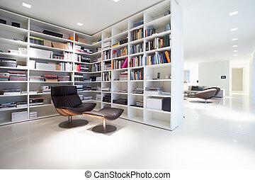 résidence, intérieur, coûteux, moderne, bibliothèque