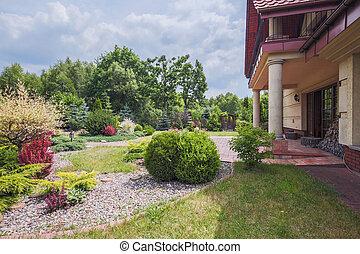 résidence, jardin, beauté, élégant