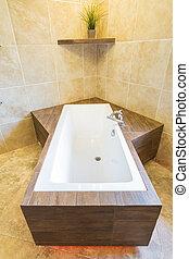 résidence, unique, baignoire