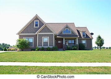 résidentiel, américain, haut gamme, maison